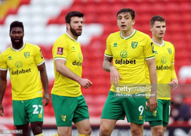 Norwich City's Jordan Hugill during the The Emirates FA Cup Fourth Round match between Barnsley and Norwich City at Oakwell Stadium on January 23,...