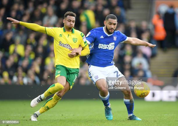 Norwich City's Josh Murphy and Ipswich Town's Cameron CarterVickers battle for the ball during the Sky Bet Championship match at Carrow Road Norwich