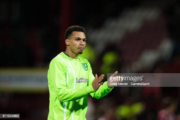 Norwich City's Josh Murphy applauds the fans at the final whistle during the Sky Bet Championship match between Brentford and Norwich City at Griffin...