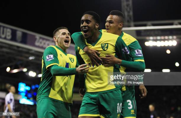 Norwich City's Leroy Fer celebrates scoring the 2nd goal with Gary Hooper and Josh Murphy against West Bromwich Albion during 20 win in the Barclays...