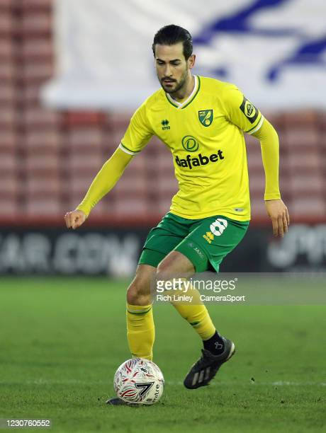 Norwich City's Mario Vrancic during the The Emirates FA Cup Fourth Round match between Barnsley and Norwich City at Oakwell Stadium on January 23,...
