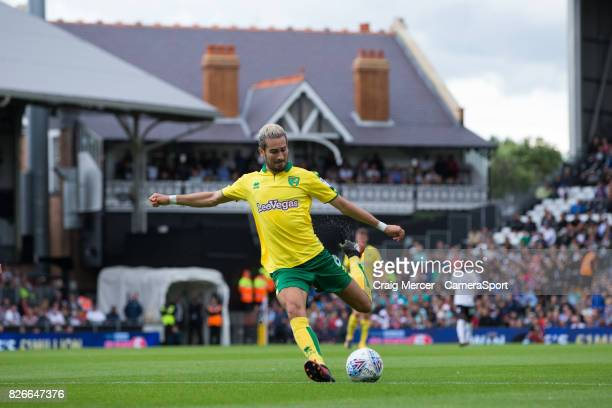 Norwich City's Mario Vrancic has a shot at goal during the Sky Bet Championship match between Fulham and Norwich City at Craven Cottage on August 5...