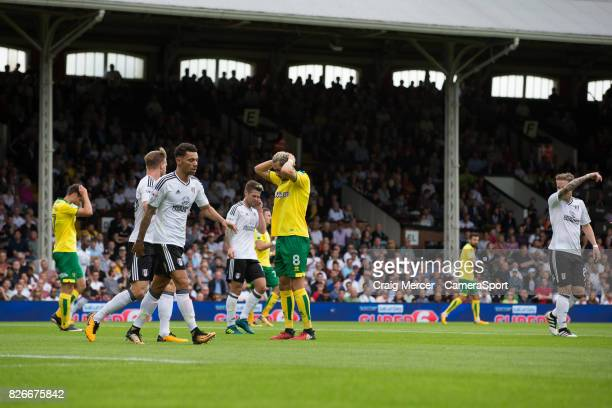 Norwich City's Mario Vrancic reacts after a missed chance during the Sky Bet Championship match between Fulham and Norwich City at Craven Cottage on...