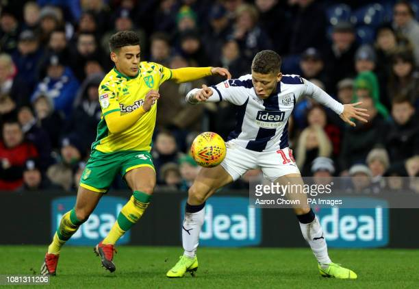 Norwich City's Max Aarons and West Bromwich Albion's Dwight Gayle battle for the ball during the Sky Bet Championship match at The Hawthorns West...