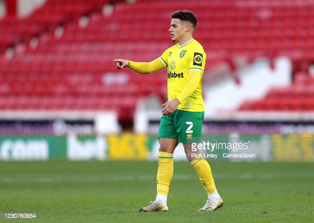 Norwich City's Max Aarons during the The Emirates FA Cup Fourth Round match between Barnsley and Norwich City at Oakwell Stadium on January 23, 2021...