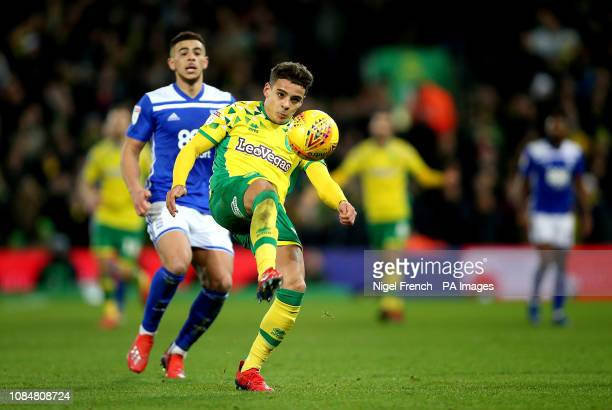Norwich City's Max Aarons in action during the Sky Bet Championship match at Carrow Road Norwich