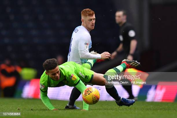Norwich City's Max Aarons is tackled by Blackburn Rovers' Harrison Reed during the Sky Bet Championship match at Ewood Park Blackburn