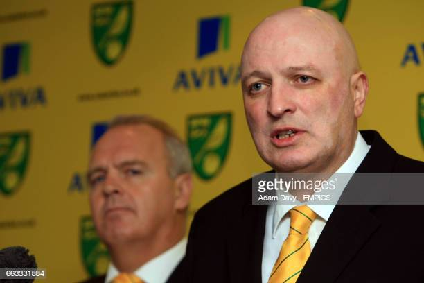 Norwich City's newly appointed Manager Bryan Gunn talks to the press as newly appointed Chief Scout John Deehan looks on