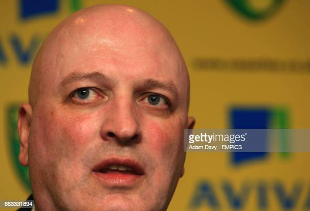 Norwich City's newly appointed Manager Bryan Gunn talks to the press