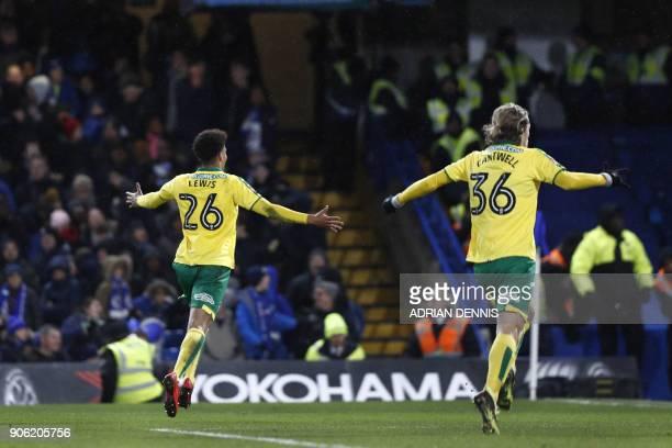Norwich City's Northern Irish defender Jamal Lewis celebrates scoring his team's first goalwith Norwich City's English midfielder Todd Cantwell...