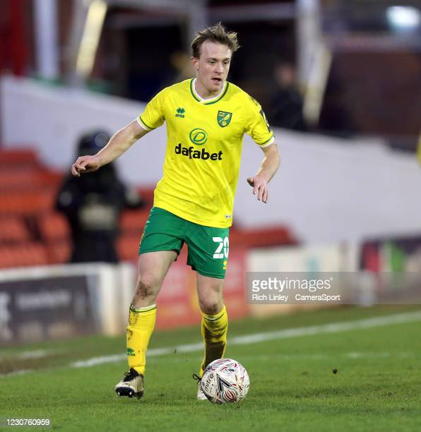Norwich City's Oliver Skipp during the The Emirates FA Cup Fourth Round match between Barnsley and Norwich City at Oakwell Stadium on January 23,...