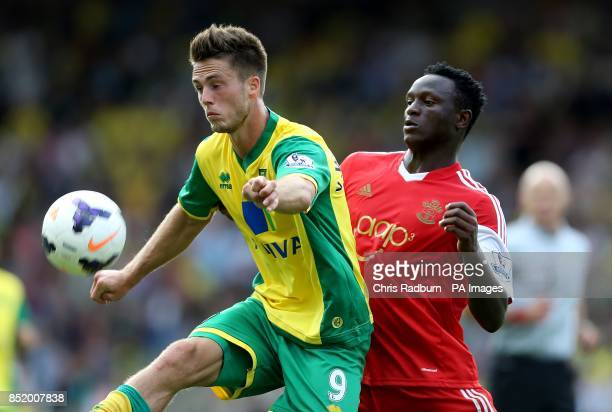 Norwich City's Ricky van Wolfswinkel and Southampton's Victor Wanyama battle for the ball