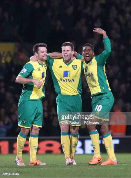 Norwich City's Ryan Bennett celebrates scoring their first goal of the game with teammates Leroy Fer and Russell Martin