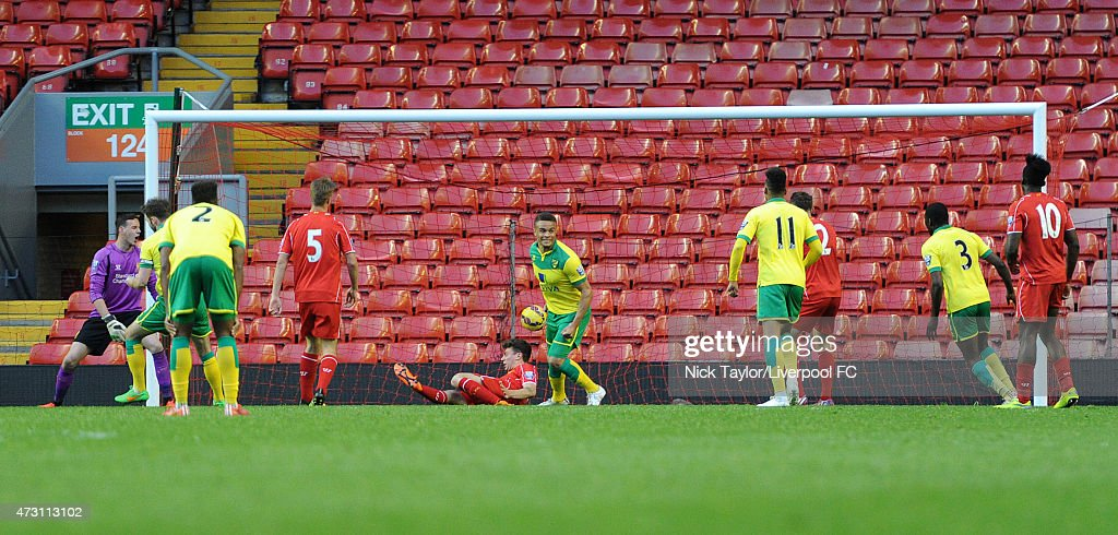 Norwich City's second goal of the game scored by Jacob Murphy during the U21 Premier League match between Liverpool and Norwich City at Anfield on May 11, 2015 in Liverpool, England.