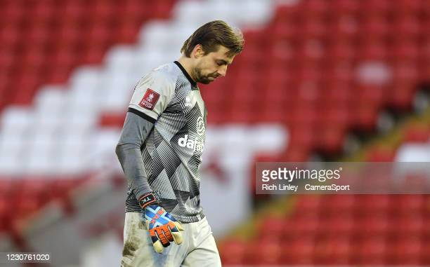 Norwich City's Tim Krul during the The Emirates FA Cup Fourth Round match between Barnsley and Norwich City at Oakwell Stadium on January 23, 2021 in...