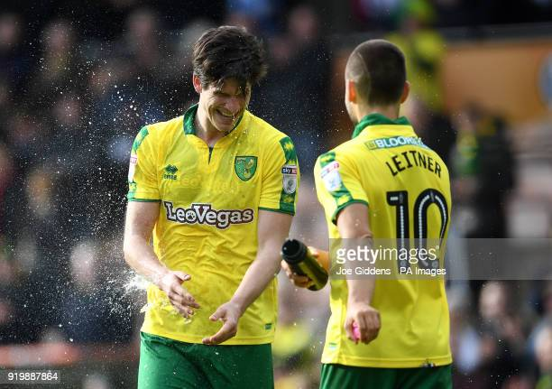 Norwich City's Timm Klose celebrates after the final whistle after scoring a late equaliser for his side with teammate Moritz Leitner during the Sky...