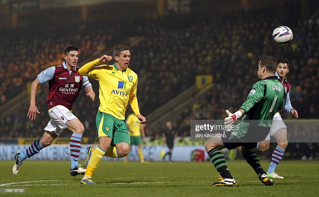 Norwich City's Welsh striker Steve Morison (C) scores his team's first goal against Aston Villa during their English League Cup quarter final football match at Carrow Road stadium in Norwich, east England, on December 12, 2012.