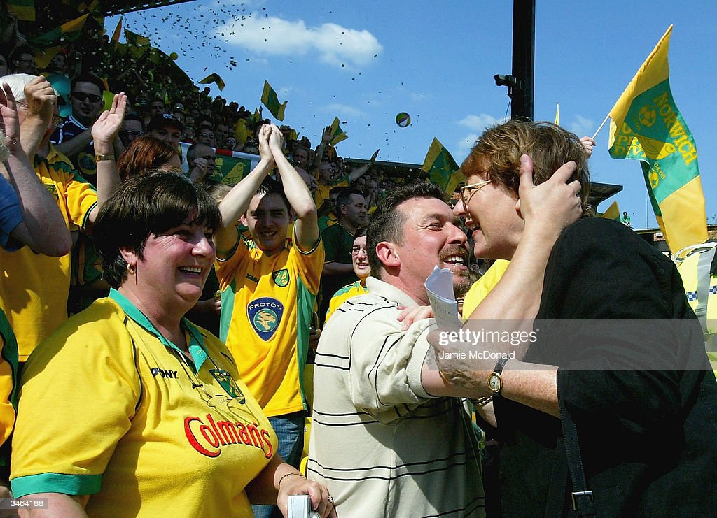 Norwich Director Delia Smith greets the fans during the Nationwide Division One match between Watford and Norwich City at Vicarage Road on April 24, 2004 in Watford, England.