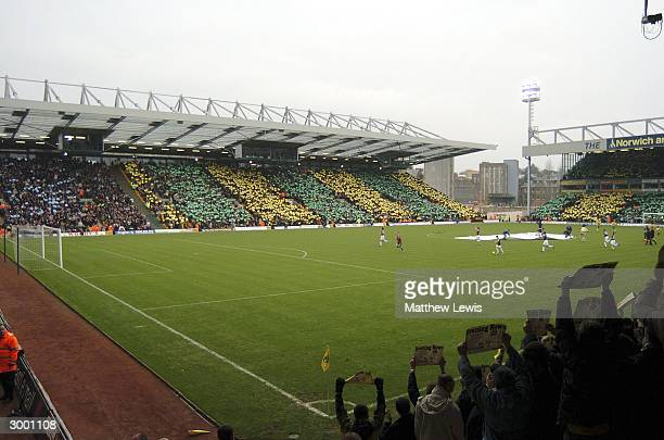 Norwich fans show their support as the new stand at Carrow Road is opened during the Nationwide Division One match between Norwich City and West Ham...