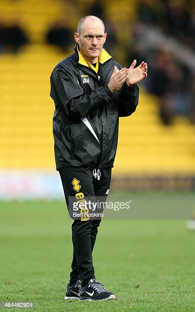 Norwich manager Alex Neil applauds the travelling support following the Sky Bet Championship match between Watford and Norwich City at Vicarage Road...