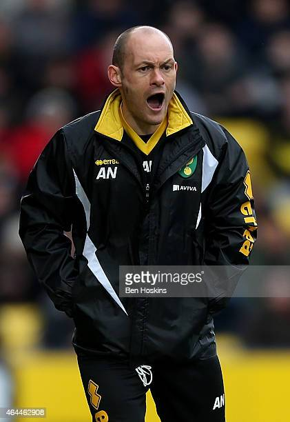 Norwich manager Alex Neil gives instructions during the Sky Bet Championship match between Watford and Norwich City at Vicarage Road on February 21...