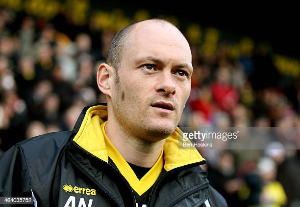 Norwich manager Alex Neil looks on ahead of during the Sky Bet Championship match between Watford and Norwich City at Vicarage Road on February 21...