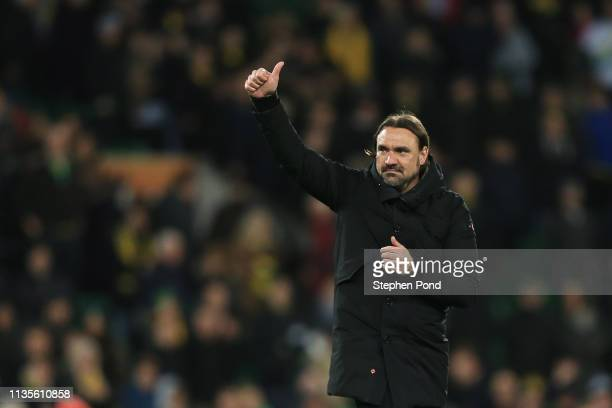 Norwich manager Daniel Farke celebrates after the Sky Bet Championship match between Norwich City and Hull City at Carrow Road on March 13, 2019 in...