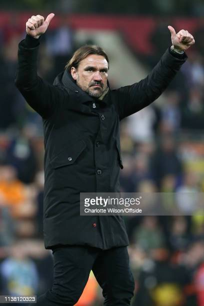 Norwich manager Daniel Farke celebrates their draw during the Sky Bet Championship match between Norwich City and Sheffield Wednesday at Carrow Road...