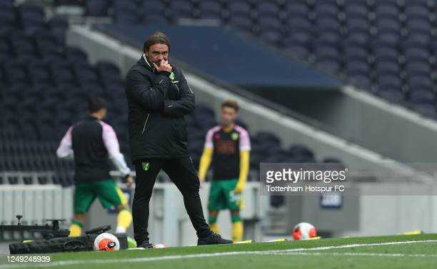 Norwich manager Daniel Farke during the friendly practice match between Tottenham Hotspur and Norwich City at Tottenham Hotspur Stadium on June 12,...