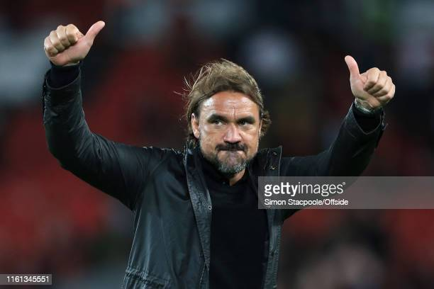 Norwich manager Daniel Farke gives the thumbsup after the Premier League match between Liverpool and Norwich City at Anfield on August 9 2019 in...