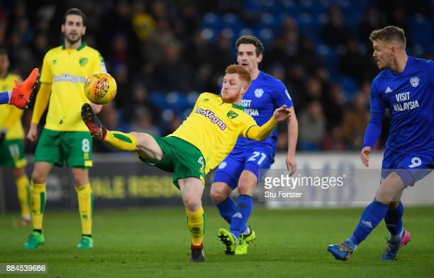 Norwich player Harrison Reed in action during the Sky Bet Championship match between Cardiff City and Norwich City at Cardiff City Stadium on...