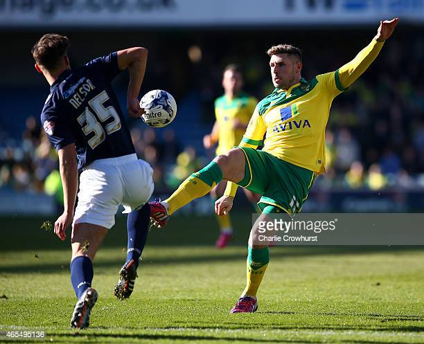 Norwich's Gary Hooper looks to attack during the Sky Bet Championship match between Millwall and Norwich City at The Den on March 07 2015 in London...