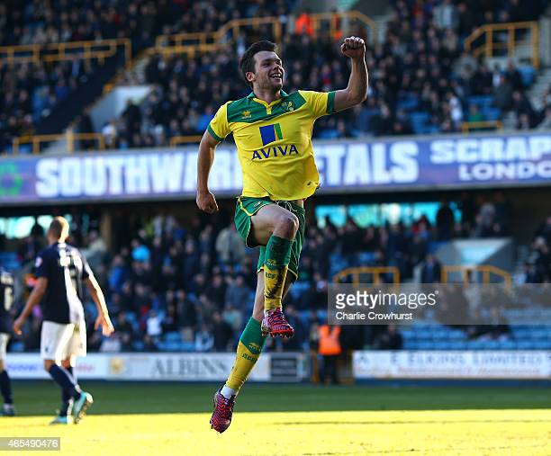 Norwich's Jonathan Howson celebrates after he scores the teams fourth goal of the game during the Sky Bet Championship match between Millwall and...