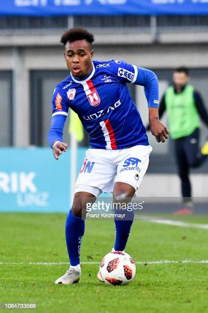 Nosa Iyobosa Edokpolor of FC Linz during the 2 Liga match between FC Blau Weiss Linz v SV Lafnitz at Stadion der Stadt Linz on November 24 2018 in...
