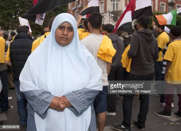 Nosayba Halawa protests with members of The Egyptian Irish AntiCoup Forum on O'Connell Street Dublin
