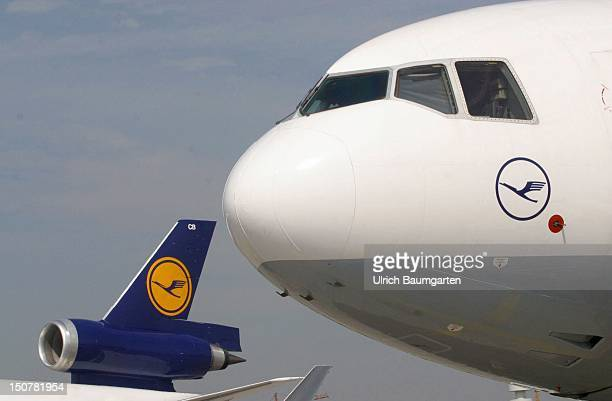 Nose and Tailfin of planes of the Lufthansa AG at the Frankfurt Airport