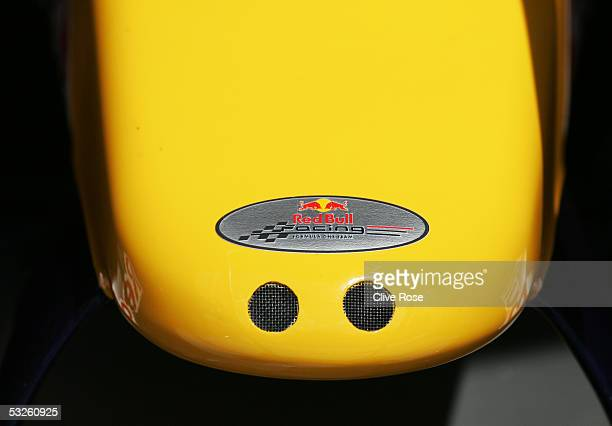 Nose cone detail on the Red Bull Racing car before practice for the French F1 Grand Prix at the Circuit Nevers on July 1 2005 in Magny Cours France