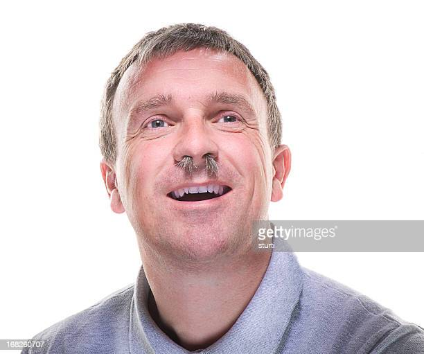 nose hair man - hairy body stock photos and pictures