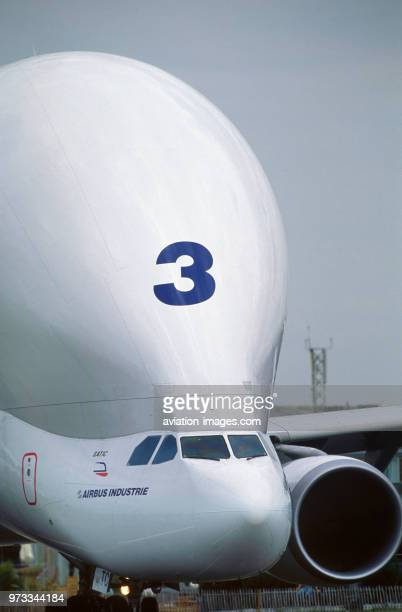 nose of the Airbus Transport International Airbus A300600ST Beluga parked inh the staticdisplay at the 1999 Paris Air Show