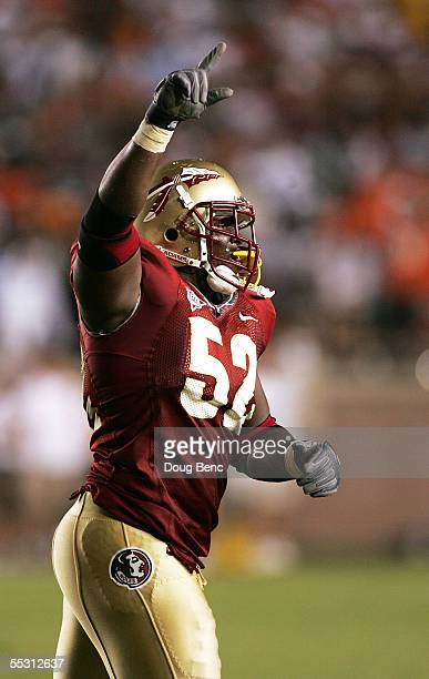 Nose tackle Brodrick Bunkley of the Florida State Seminoles celebrates after a fumble on fourth and goal ended the day for the Miami Hurricanes at...