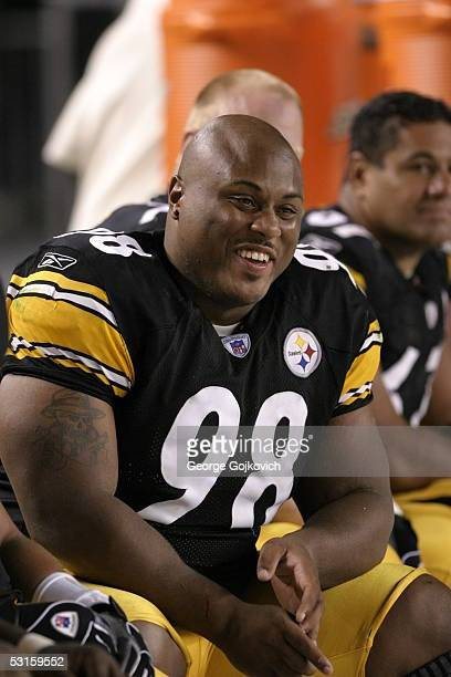 Nose tackle Casey Hampton of the Pittsburgh Steelers smiles during a preseason game against the Philadelphia Eagles at Heinz Field on August 16, 2003...