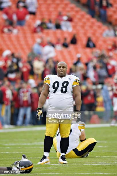 Nose tackle Casey Hampton of the Pittsburgh Steelers warming up before a game against the Kansas City Chiefs at Arrowhead Stadium on November 22 2009...
