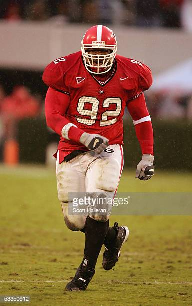 Nose tackle Gerald Anderson of the Georgia Bulldogs looks on while facing the Georgia Tech Yellow Jackets during the game at Sanford Stadium on...