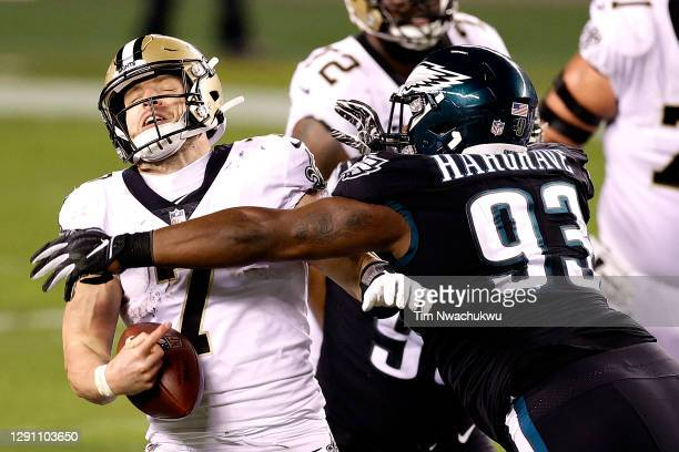 Nose tackle Javon Hargrave of the Philadelphia Eagles sacks quarterback Taysom Hill of the New Orleans Saints in the fourth quarter at Lincoln...