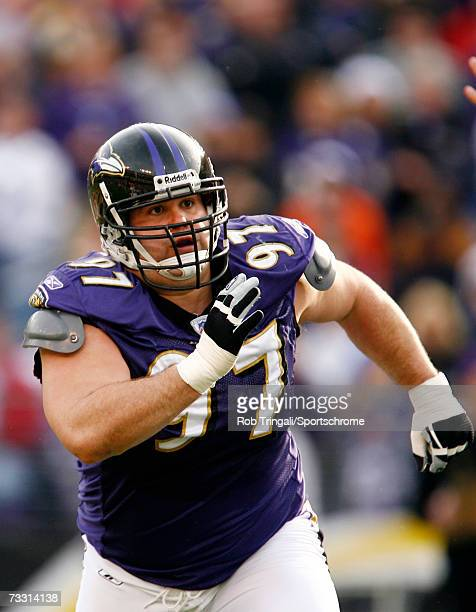 Nose Tackle Kelly Gregg of the Baltimore Ravens defends against the Cleveland Browns at M&T Bank Stadium on December 17, 2006 in Baltimore, Maryland....