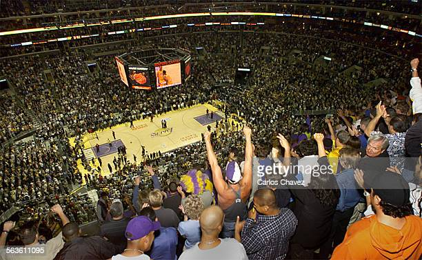 Nosebleed seats at Staples Center has a loud and dedicated group of fans that cheer boo and call fowls during games the Laker gamesDigital Image...