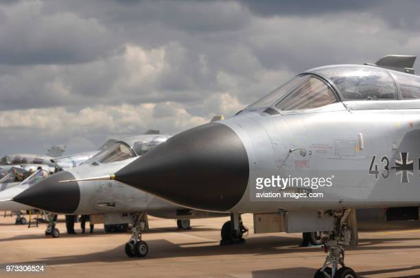 Noses of German Air Force Luftwaffe Panavia Tornado IDSs parked in the static-display at the 2009 Royal International Air Tattoo RIAT RIAT airshow.