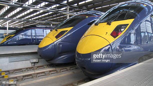 CONTENT] Noses of three of the Class 395 highspeed commuter trains built by Japan's Hitachi and used on services between London and Kent lined up at...