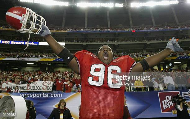 Nosetackle Ken Veal of the University of Georgia Bulldogs celebrates after Georgia defeated the University of Arkansas Razorbacks in the SEC...
