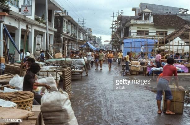 nostalgia, denpassar, bali 1977, street market, - denpasar stock pictures, royalty-free photos & images
